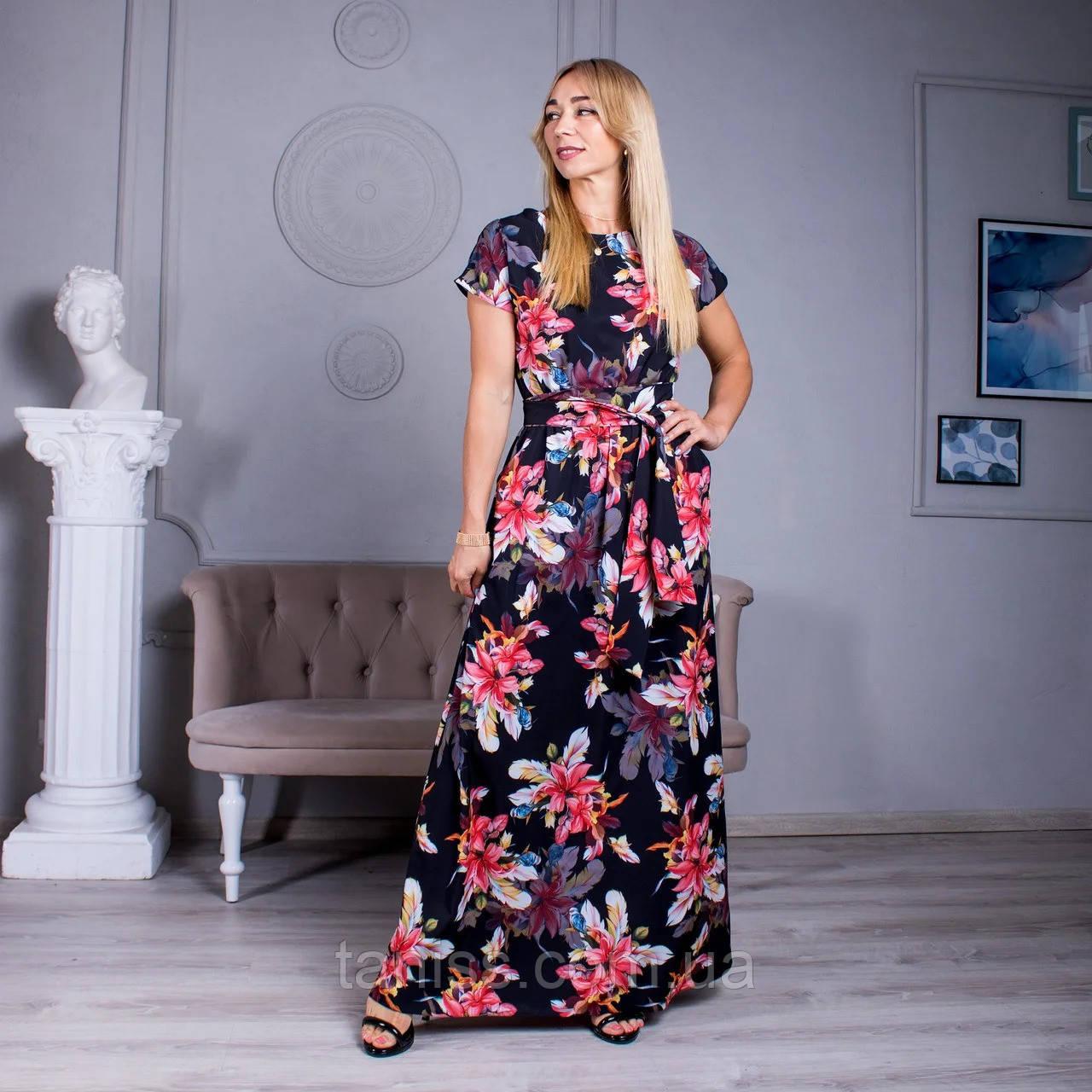 """Женское летнее платье  макси """"Алина """",ткань софт, размеры 44-46, 48-50, 52-54 ,черное ,сукня"""