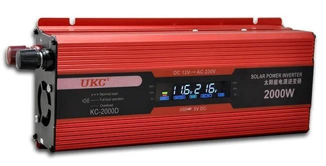 Преобразователь UKC 12V-220V 2000W KC-2000D инвертор с дисплеем