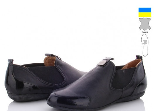 Туфли кожаные женские  крос.-кожа+лак-ч A.Dama-AE357