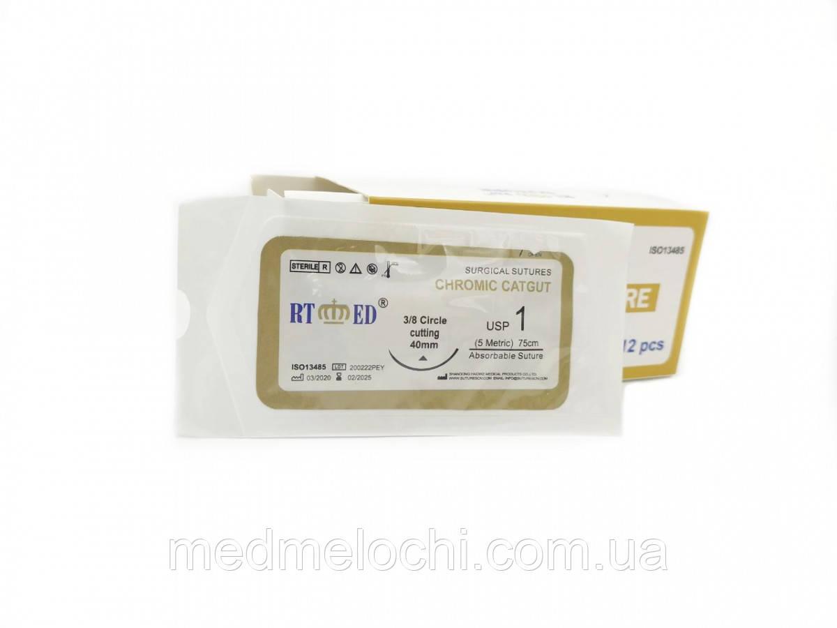 Кетгут RT-med хромований USP 1 (EP 5) з  ріж. голкою 40мм 3/8 кола