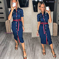 Платье женское летнее темно-синее на пуговицах джинс-коттон