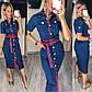 Платье женское летнее темно-синее на пуговицах джинс-коттон, фото 3