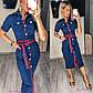 Платье женское летнее темно-синее на пуговицах джинс-коттон, фото 4