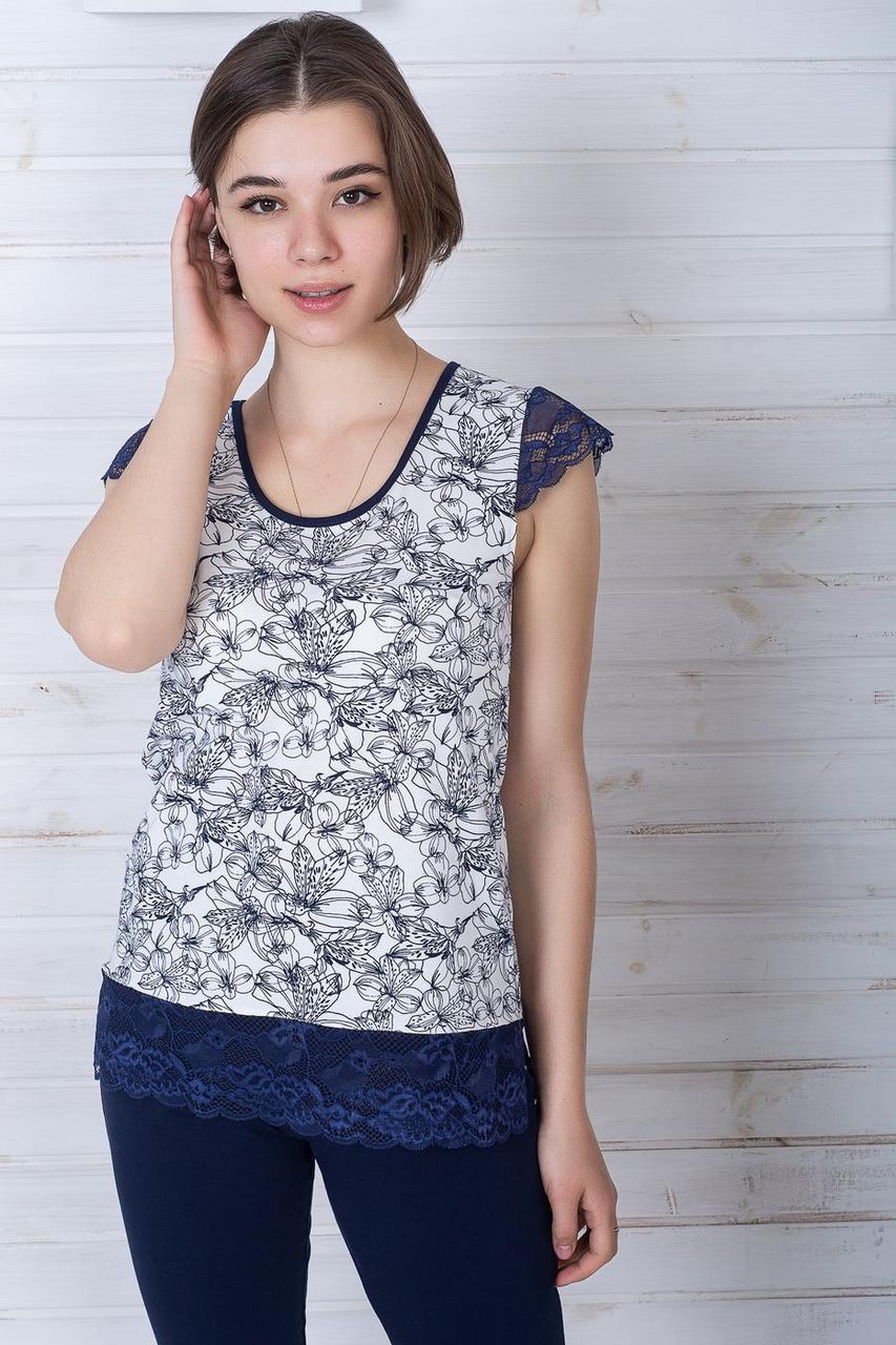 Женская пижама из хлопка П1107 Синий + лилии
