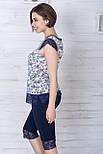 Женская пижама из хлопка П1107 Синий + лилии, фото 2