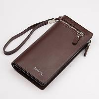 Кожаное мужское портмоне клатч Baellerry Italia / Кожаный мужской кошелек коричневый