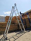 Лестница алюминиевая профессиональная трехсекционная универсальная 3 х 12 ступеней, фото 8