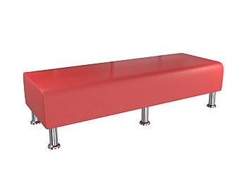 Банкетка BNB Solo1500x500x380 красная.  Кушетка. Для школы, больницы, приемной, ожидания
