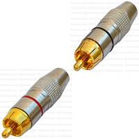 Штекер RCA silver-gold, Ø6.5мм, корпус металлический, чёрный+красный, пара