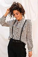 Жіноча блуза з рюшами EJM - білий колір, S (є розміри), фото 1