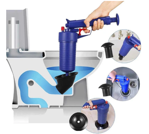 Пневматичний вантуз, очищувач каналізації високого тиску Toilet dredge GUN BLUE