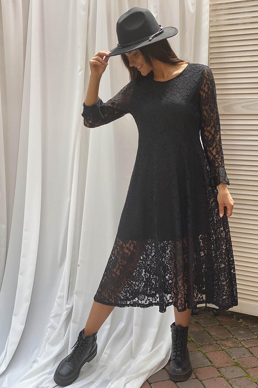 Изысканное ажурное платье миди LUREX - черный цвет, S (есть размеры)