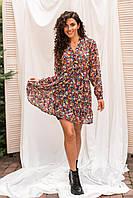Шифоновое мини-платье с воротом-стойкой резинкой и пояском Clew - розовый цвет, S (есть размеры), фото 1