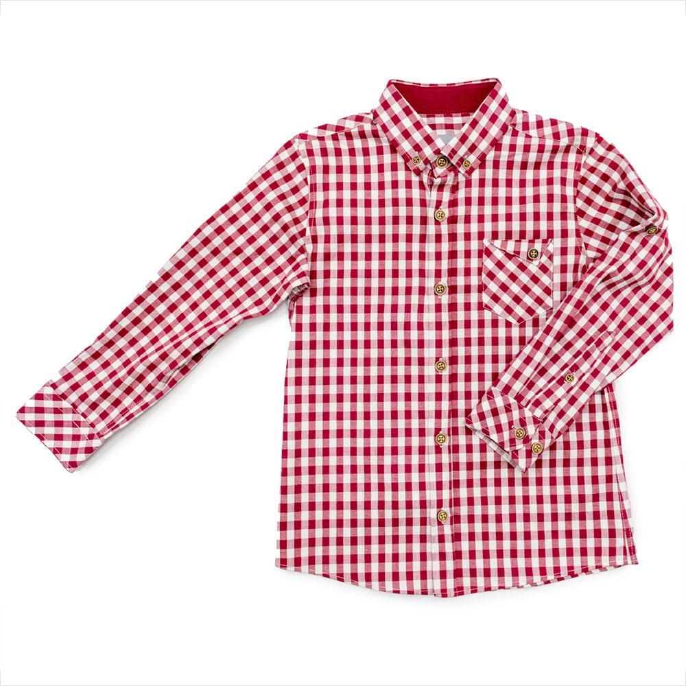 Сорочка для хлопчиків Tommy life 110 червоно-біла 10315