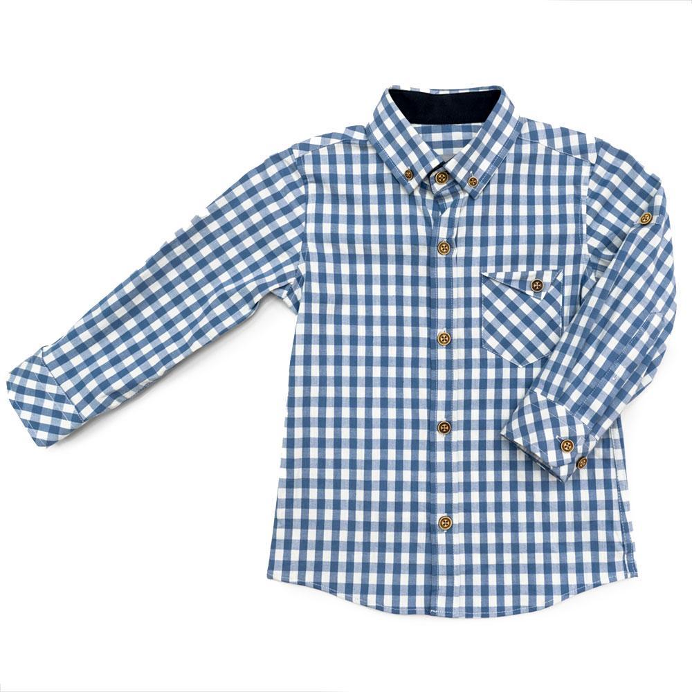 Рубашка для мальчиков Tommy life 104  бело-голубая 10315