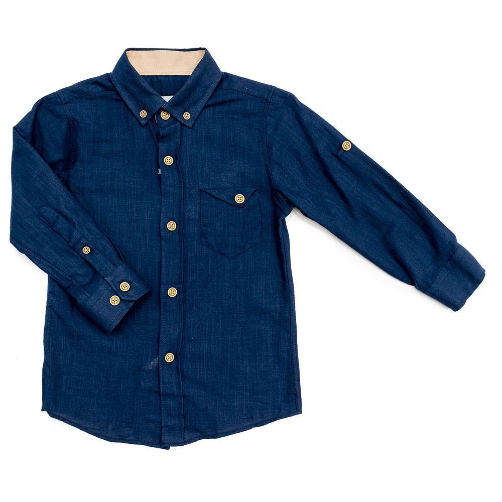 Рубашка для мальчиков Tommy life 104  темно-синяя 10315