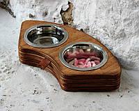 Миска-кормушка металлическая для кошек котов котят  XS - 2 миски КІТ-ПЕС by smartwood Box 5.2