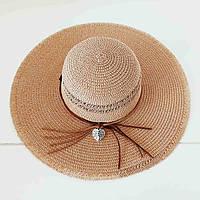 Женская летняя шляпа с широкими полями, кофе с молоком 599