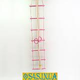 Детский верёвочный набор для шведской стенки из дерева, набор подвесной  «ЭЛИТ», роза, фото 2