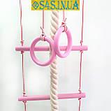 Детский верёвочный набор для шведской стенки из дерева, набор подвесной  «ЭЛИТ», роза, фото 3