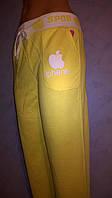 Спортивные брюки желтые  трикотажные