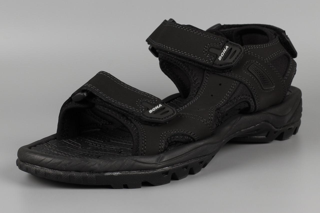 Сандалии босоножки мужские кожаные на липучке черные великаны Bona 775D-4 Бона Размеры 47 48