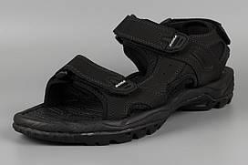 Сандалии босоножки мужские кожаные на липучке черные великаны Bona 775D-4 Бона Размеры 47 48 49