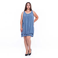 Літній жіночий сарафан по коліно у синьому кольорі із гарною в'язаною спинкою макраме 5 універсального розмір