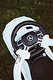 Каталка-толокар Mercedes M 3186L з шкіряним сидінням, МП3 та акумуляторною батареєю, Білий, фото 5