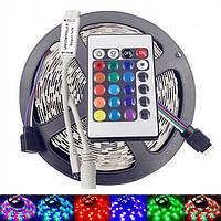 Лента светодиодная LED RGB 5 метров с пультом разноцветная Полный комплект (Реальные фото)