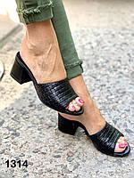 Сабо женские кожаные черные на каблуке, фото 1