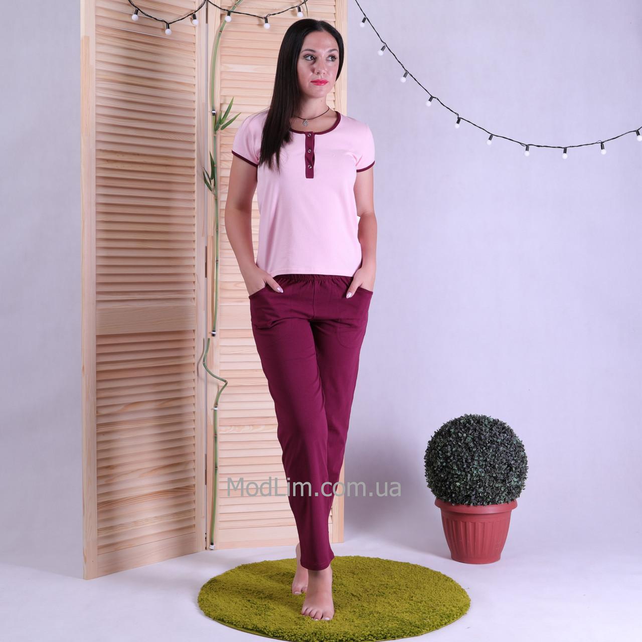 """Жіночий комплект футболка зі штанами """"Bordo"""" р. 42-54"""