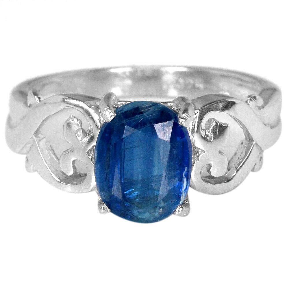 Серебряное кольцо с кианитом, 8*6 мм., 2392КЦК