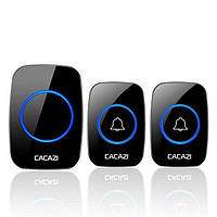Беспроводной дверной звонок на входную дверь с 2-мя кнопками вызова Cacazi A21, черный
