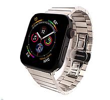 Металлический ремешок браслет серебристого цвета для Apple Watch 42-44 мм