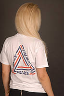 Белая  футболка Palace (лого с полосками), фото 1