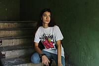 Белая футболка с ярким принтом Stussy, фото 1