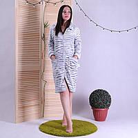 """Женский махровый халат на молнии с воротничком """"Shinshila"""" р.48-56"""