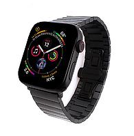 Металлический ремешок браслет черного цвета для Apple Watch 42-44 мм