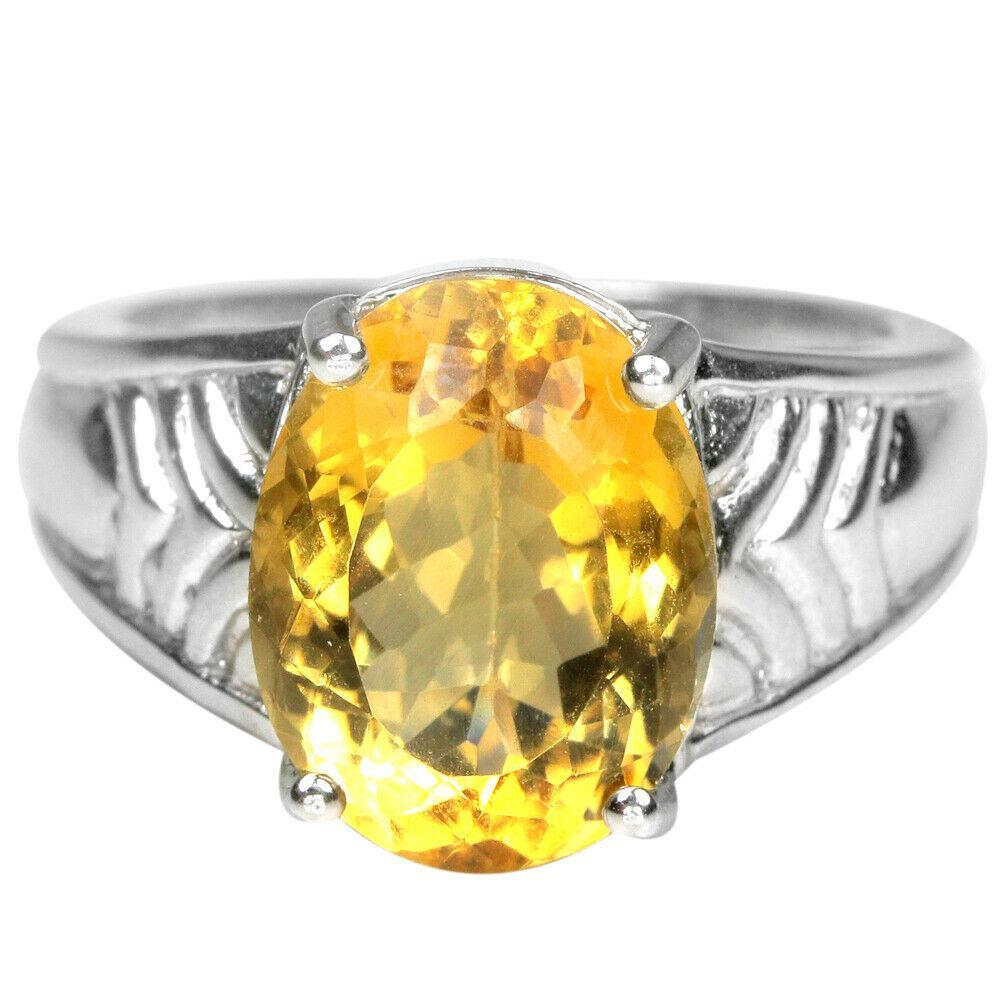 Серебряное кольцо с цитрином, 13*10 мм., 2393КЦЦ