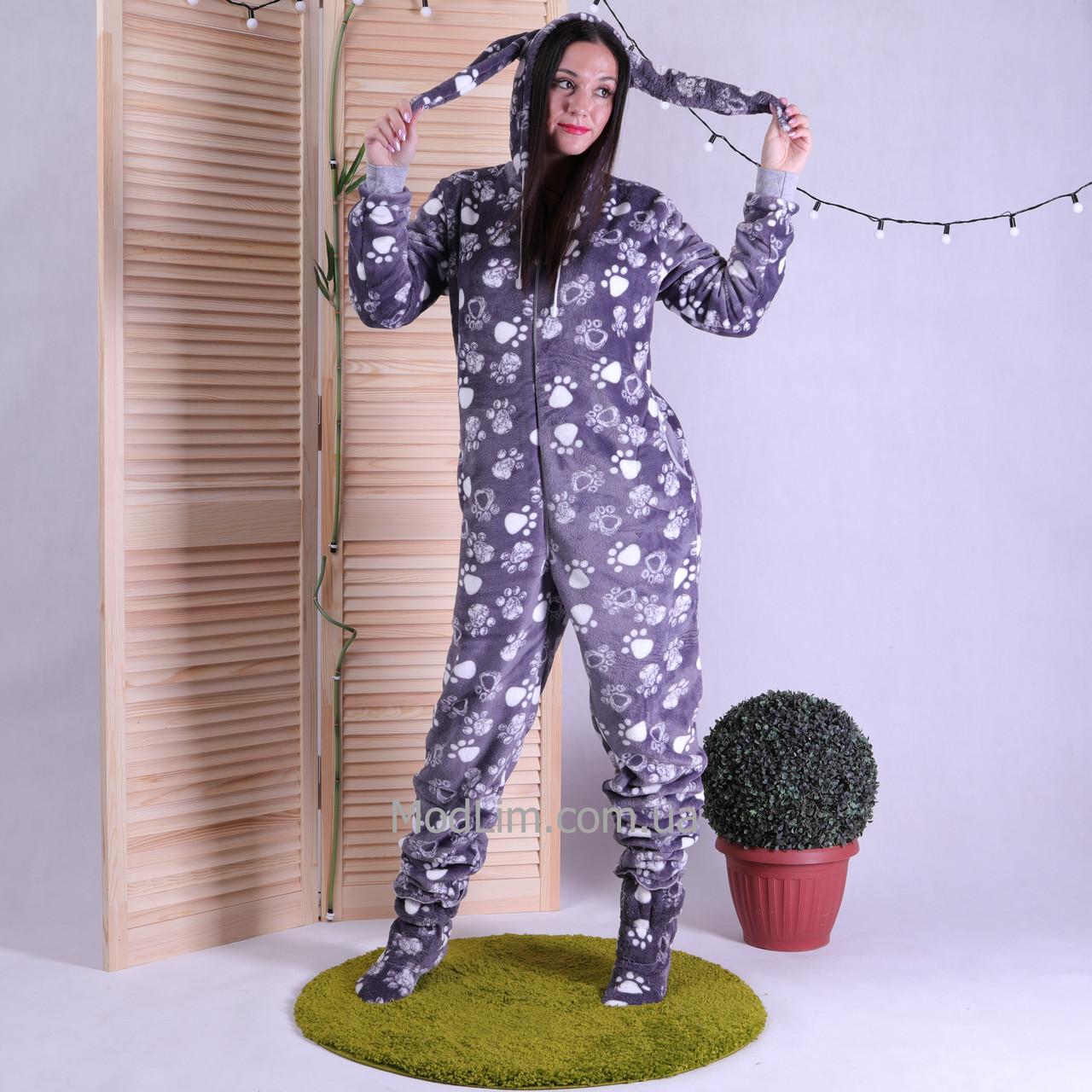 """Махрова жіноча піжама кигуруми з довгими вушками """"Lapki"""" 42-50"""