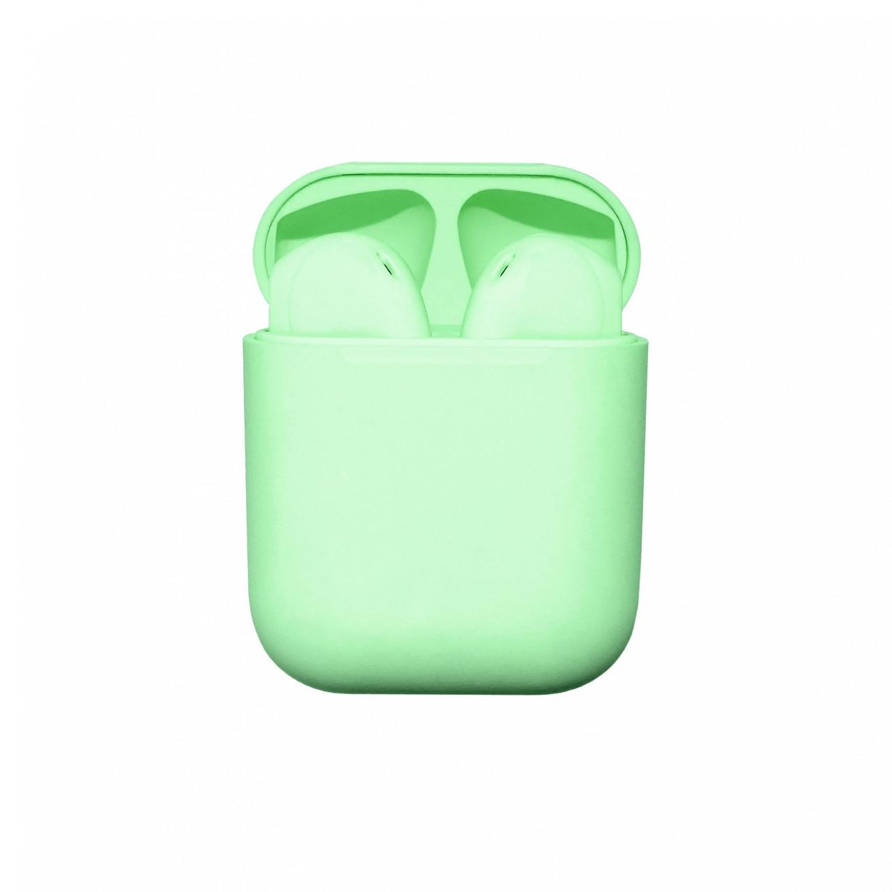 Бездротові навушники блютуз гарнітура inPods 12 macaron TWS bluetooth V5.0 сенсорні Салатовий