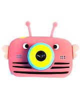 Оригинал Full HD Детский цифровой фотоаппарат Children`s fun Розовая Пчелка 40М 1080p (BPB)