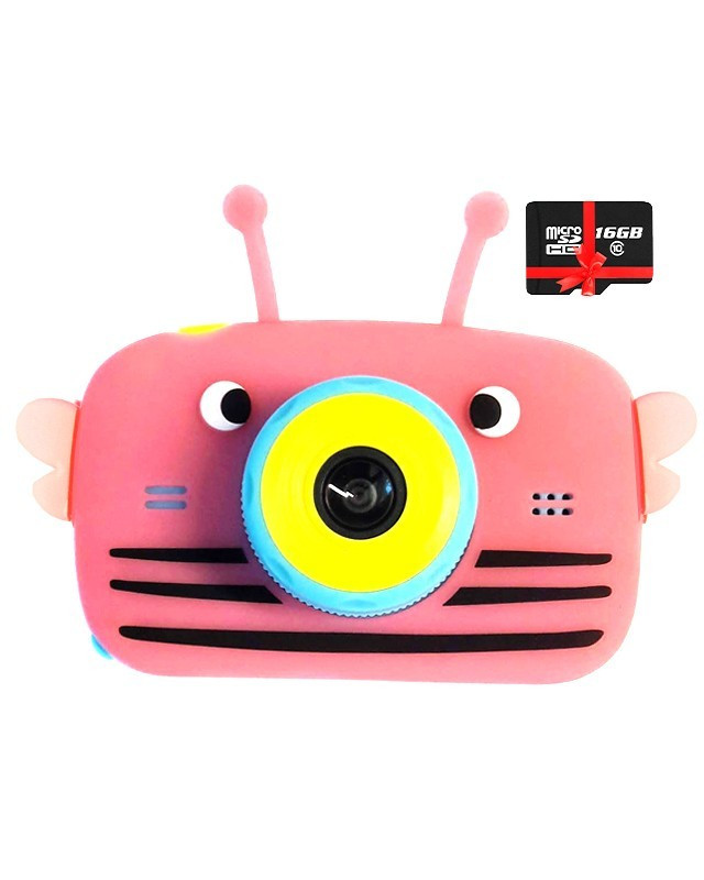 20Мп Детский цифровой фотоаппарат Children`s fun Розовая Пчелка Full HD 1080p (BPB) с картой памяти 32 GB