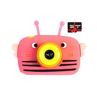 Детский цифровой фотоаппарат Children`s fun Розовая Пчелка Селфи Selfie 40М (YPBS) с картой памяти 32 GB