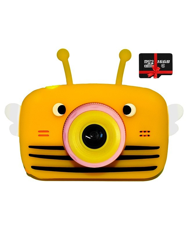 Оригинал Детский цифровой фотоаппарат Children`s fun Желтая Пчелка 20Мп Full HD 1080p (PYB) с картой памяти 32