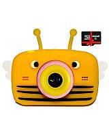 Детский цифровой фотоаппарат Children`s fun Желтая Пчелка Селфи Selfie 40М (PYBS) с картой памяти 32 GB