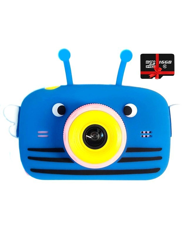 Детский цифровой фотоаппарат Children`s fun Синяя Пчелка Селфи Selfie 20Мп (PBBS) с картой памяти 32 GB