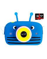 Детский цифровой фотоаппарат Children`s fun Синяя Пчелка Селфи Selfie 40М (PBBS) с картой памяти 32 GB