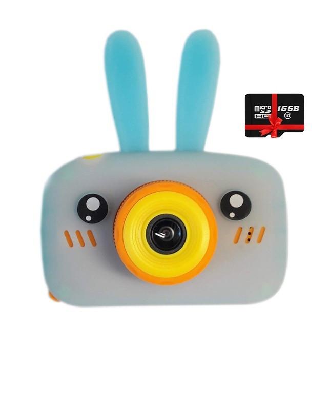 Детский цифровой фотоаппарат Children`s fun Голубой Зайчик 40М Селфи Selfie (YBS) с картой 32 GB